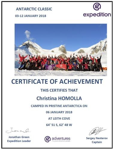 Camping certificate Christina